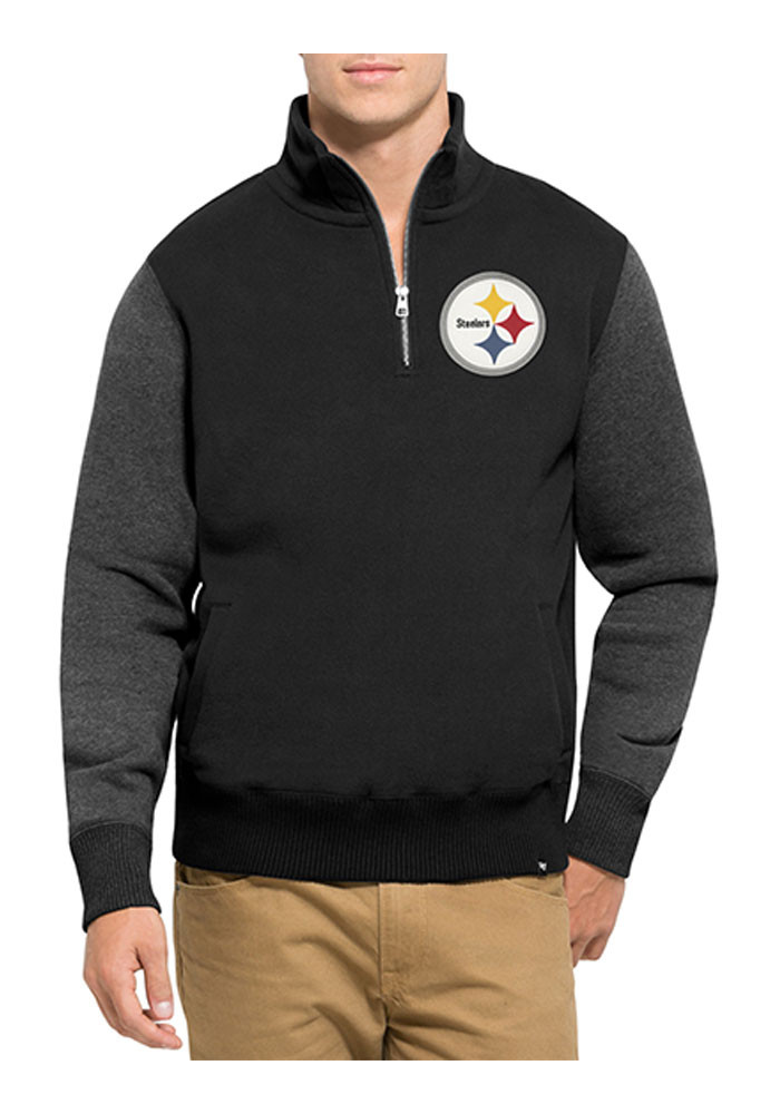 '47 Pittsburgh Steelers Mens Black Triple Coverage Long Sleeve 1/4 Zip Fashion Pullover - Image 1