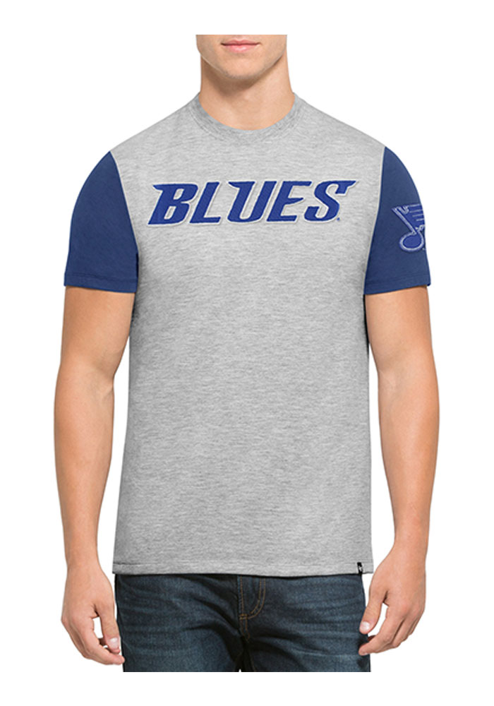 '47 St Louis Blues Mens Grey Triple Up Short Sleeve Fashion T Shirt - Image 1