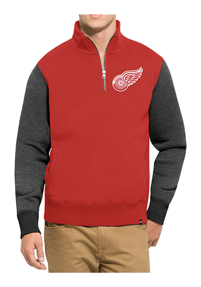 47 Detroit Red Wings Mens Red Triple Coverage Long Sleeve 1/4 Zip Fashion Pullover - Image 1