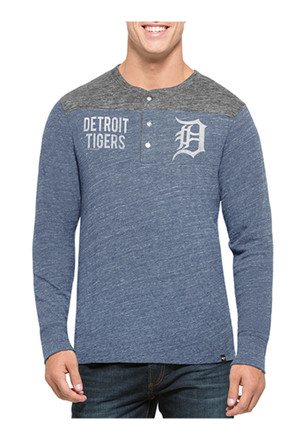 '47 Detroit Tigers Mens Grey Neps Henley Fashion Tee