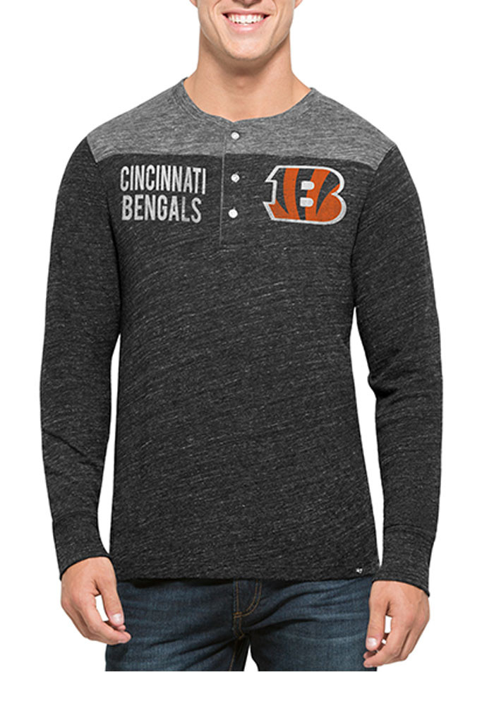 '47 Cincinnati Bengals Mens Black Neps Henley Long Sleeve Fashion T Shirt - Image 1