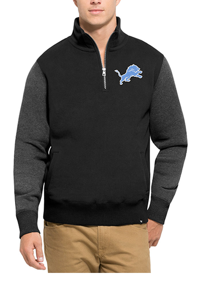 '47 Detroit Lions Mens Black Triple Coverage Long Sleeve 1/4 Zip Fashion Pullover - Image 1