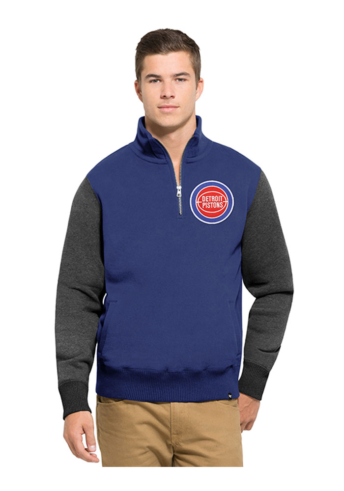 '47 Detroit Pistons Mens Blue Triple Coverage Long Sleeve 1/4 Zip Fashion Pullover - Image 1
