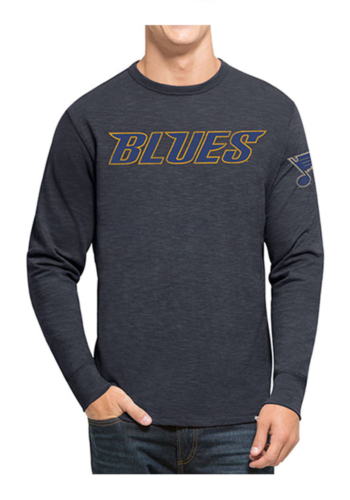 47 St Louis Blues Navy Blue Two Peat Long Sleeve Fashion T Shirt - Image 1