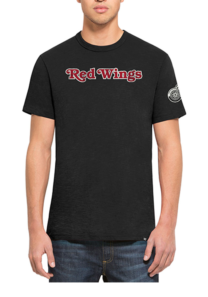 47 Detroit Red Wings Black Two Peat Short Sleeve Fashion T Shirt - Image 1