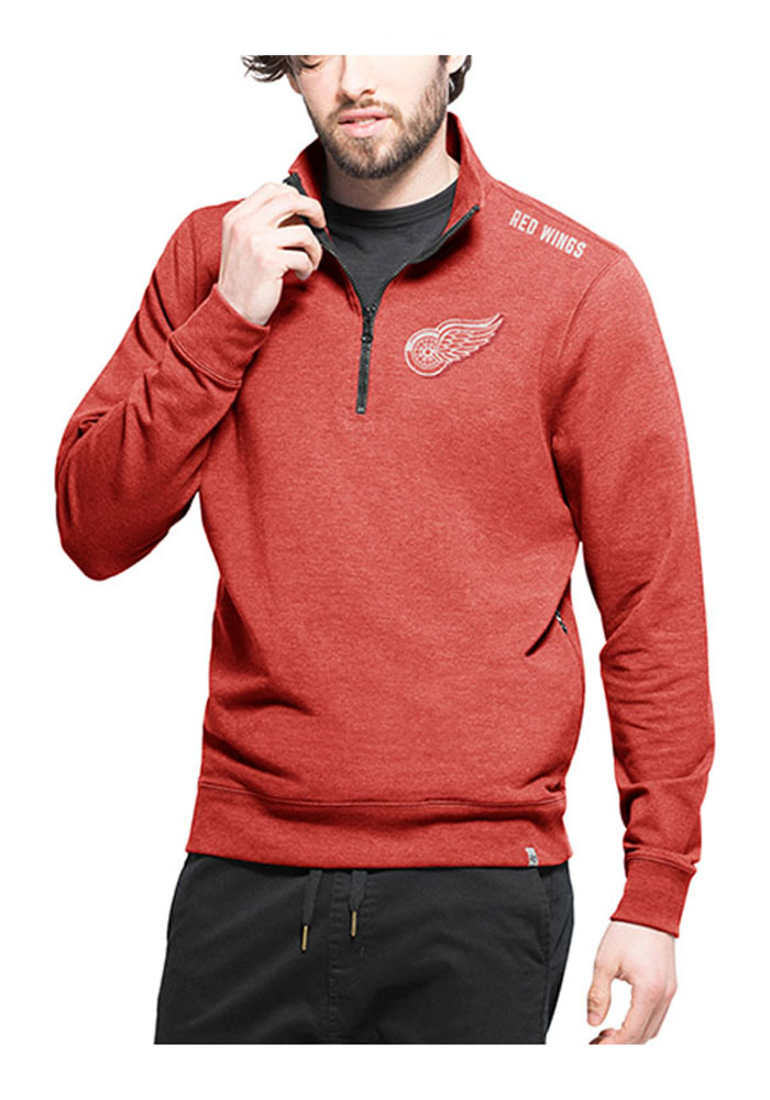 47 Detroit Red Wings Mens Red Forward Compete Long Sleeve 1/4 Zip Pullover - Image 1