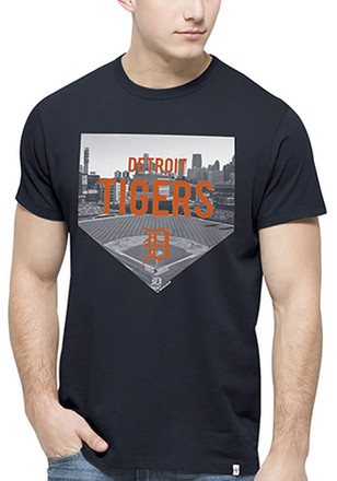 '47 Detroit Tigers Mens Navy Blue Crosstown Flanker Tee Fashion Tee