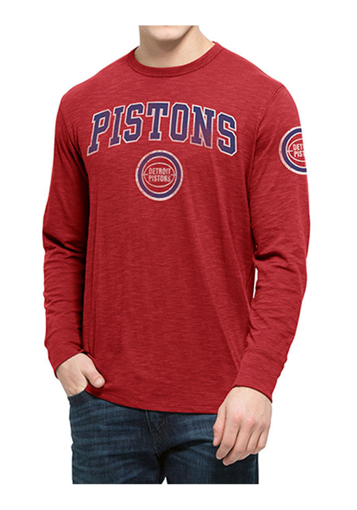 '47 Detroit Pistons Mens Red Rescue Long Sleeve Fashion T Shirt - Image 1