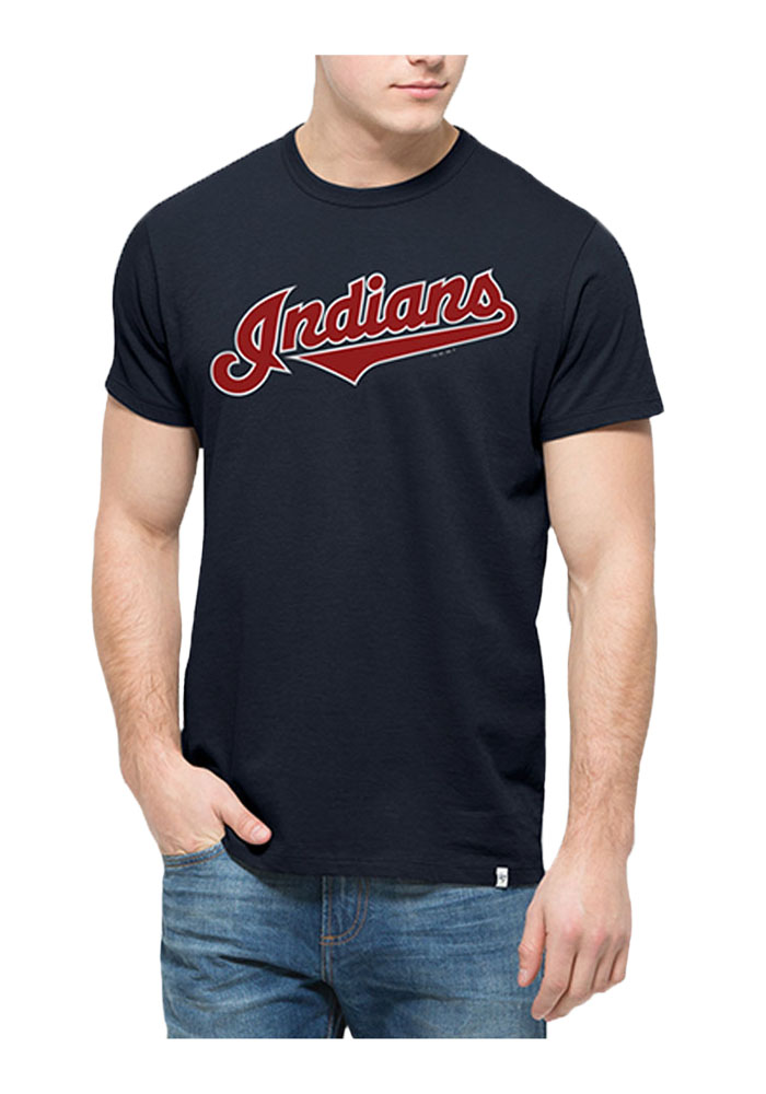 '47 Cleveland Indians Mens Navy Blue Flanker MVP Short Sleeve Fashion T Shirt - Image 1