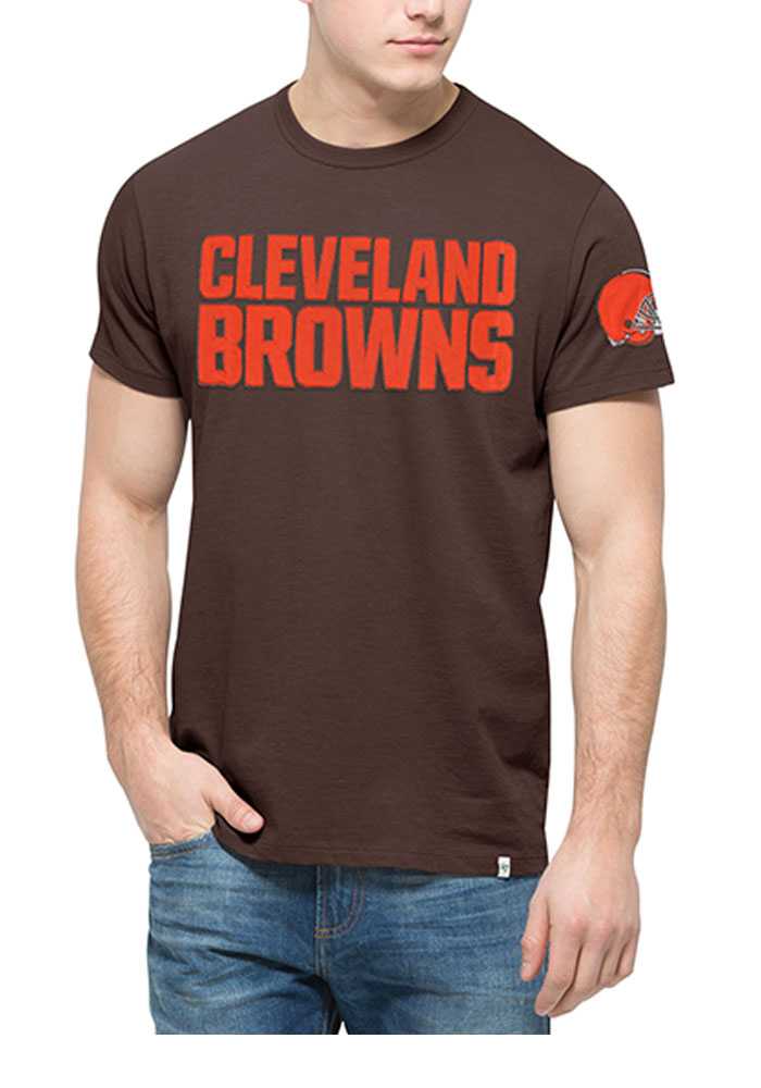 '47 Cleveland Browns Mens Brown Fieldhouse Short Sleeve Fashion T Shirt - Image 1