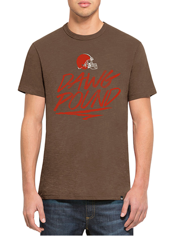 '47 Cleveland Browns Mens Brown Scrum Short Sleeve Fashion T Shirt - Image 1