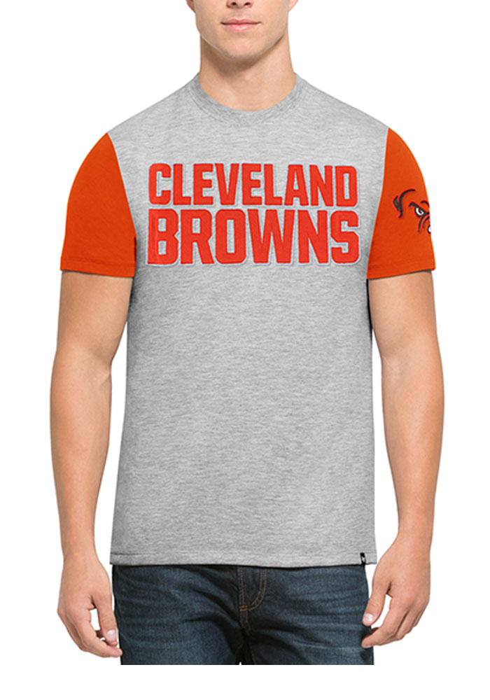 '47 Cleveland Browns Mens Brown Triple Up Short Sleeve Fashion T Shirt - Image 1