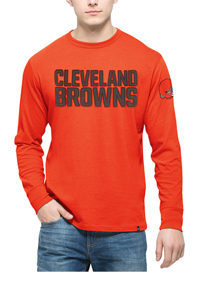 '47 Cleveland Browns Mens Brown Fieldhouse Long Sleeve Fashion T Shirt - Image 1
