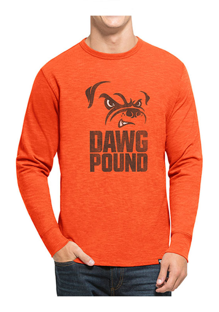 '47 Cleveland Browns Mens Brown Scrum Long Sleeve Fashion T Shirt - Image 1