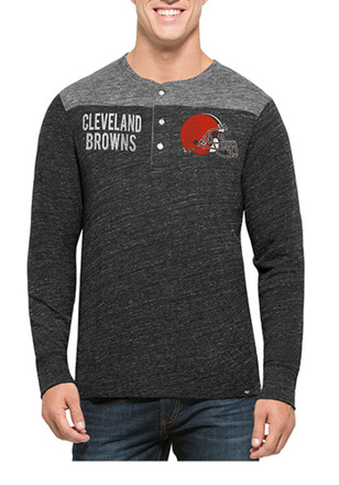 '47 Cleveland Browns Mens Black Neps Henley Fashion Tee