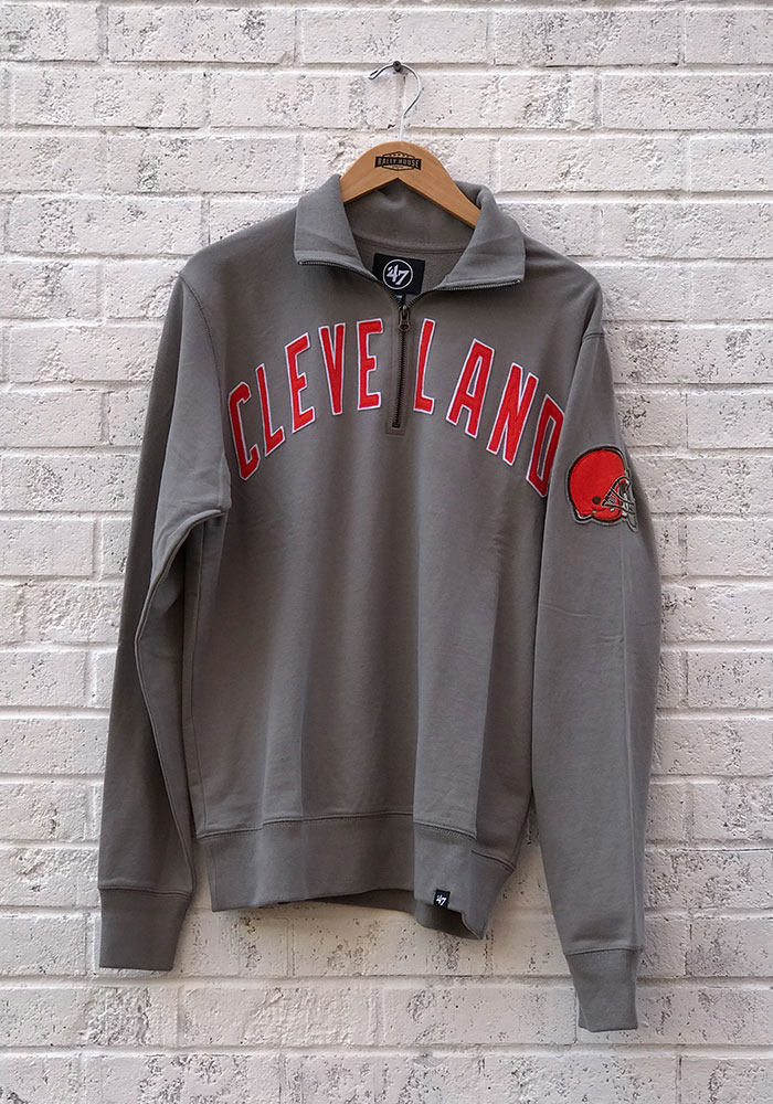 47 Cleveland Browns Mens Grey Striker 14 Zip Fashion Pullover 4808908