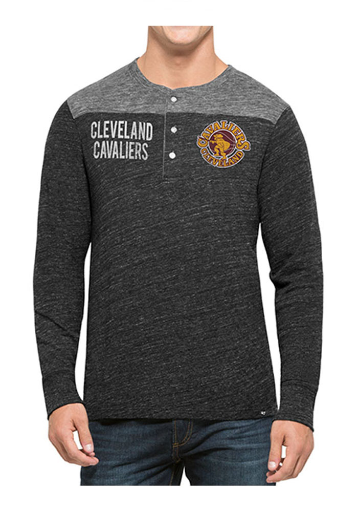 '47 Cleveland Cavaliers Mens Black Neps Henley Long Sleeve Fashion T Shirt - Image 1
