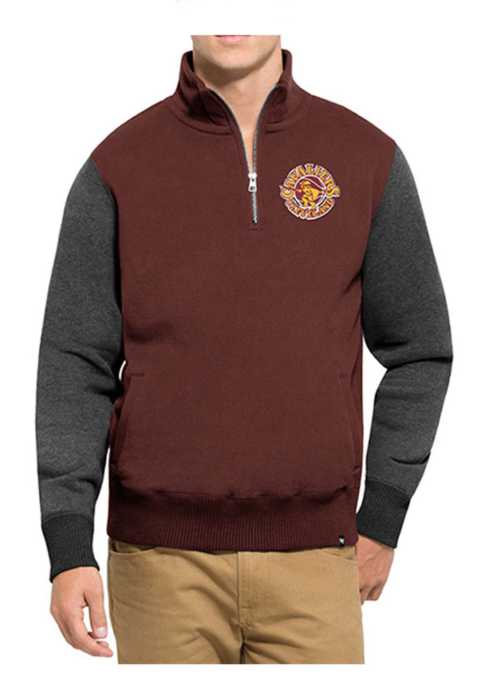 '47 Cleveland Cavaliers Mens Maroon Triple Coverage Long Sleeve 1/4 Zip Fashion Pullover - Image 1