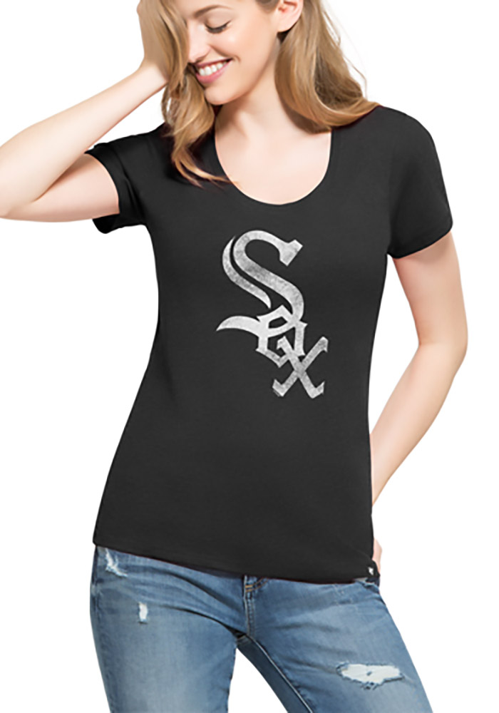 '47 Chicago White Sox Womens Black Knockaround Club Scoop T-Shirt - Image 1
