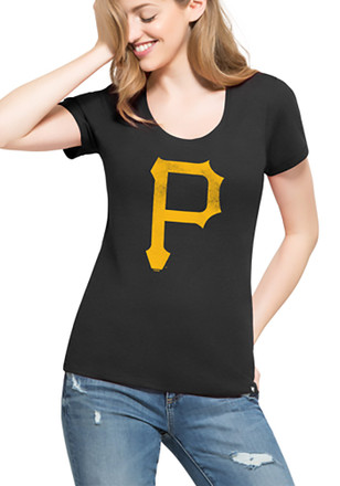 '47 Pittsburgh Pirates Womens Knockaround Club Black Scoop T-Shirt
