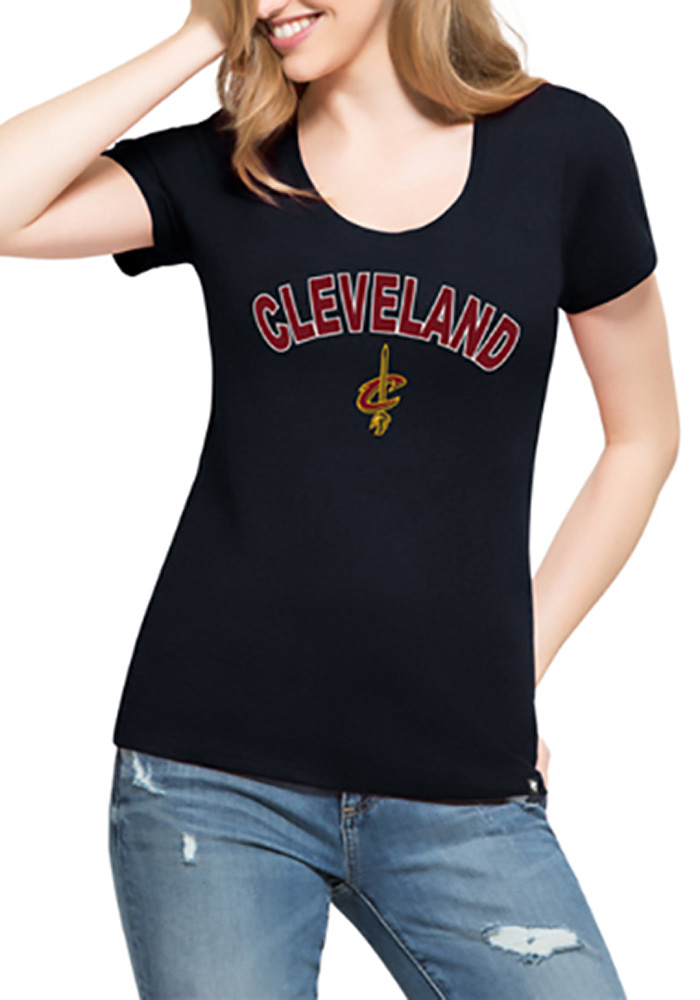 '47 Cleveland Cavaliers Womens Navy Blue MVP Club Scoop T-Shirt - Image 2