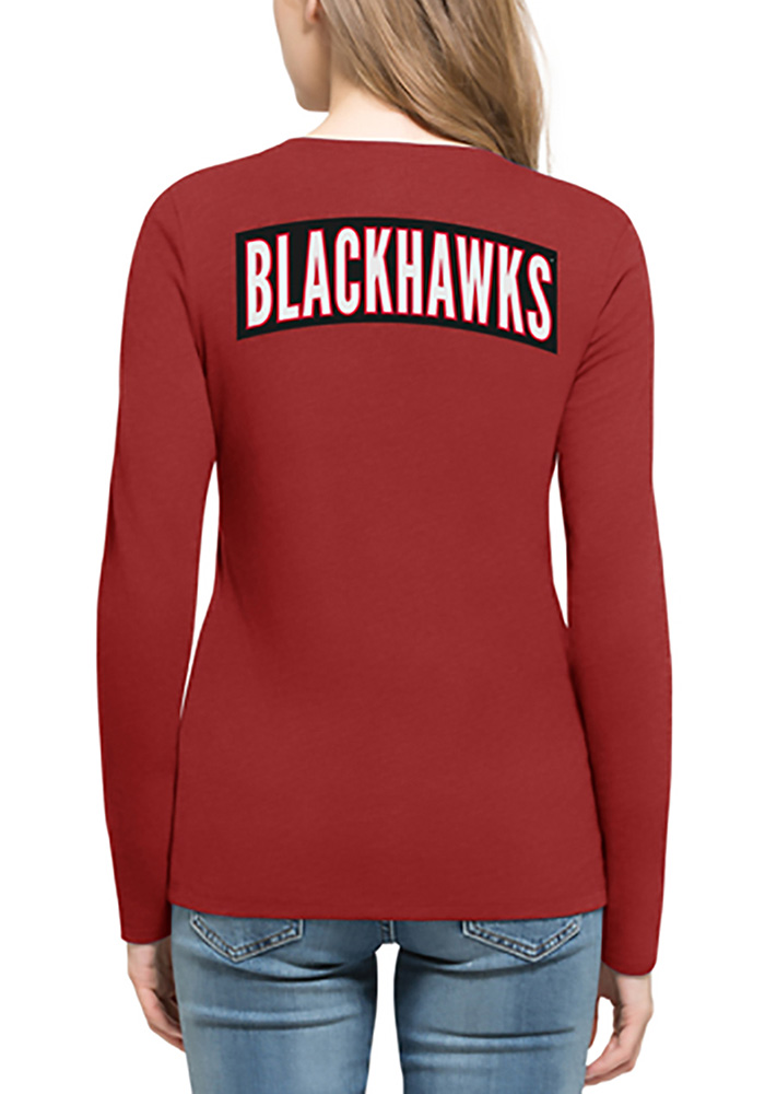'47 Chicago Blackhawks Womens Red Clutch Backer Long Sleeve T-Shirt - Image 2