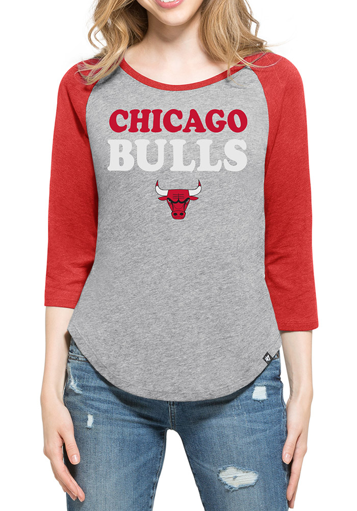 '47 Chicago Bulls Womens Grey Club Raglan Long Sleeve Crew T-Shirt - Image 1