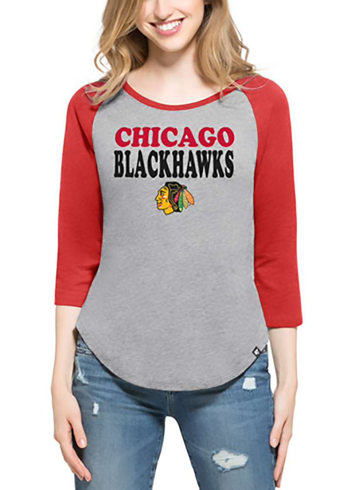 '47 Chicago Blackhawks Womens Grey Club Raglan Long Sleeve Crew T-Shirt - Image 1