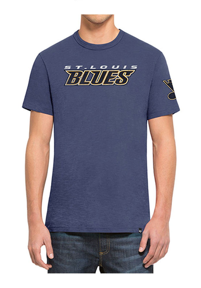'47 St Louis Blues Mens Blue Two Peat Scrum Tee Short Sleeve Fashion T Shirt - Image 1