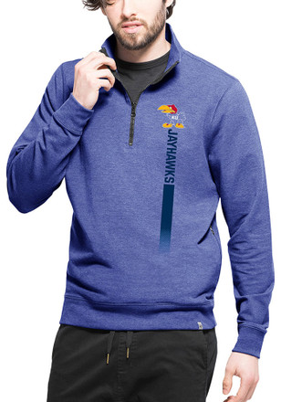 '47 Kansas Jayhawks Mens Blue Forward 1/4 Zip Fashion Pullover