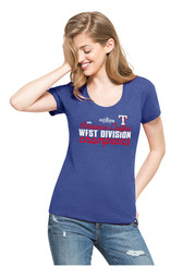 '47 Texas Rangers Womens Division Champions Blue Scoop T-Shirt