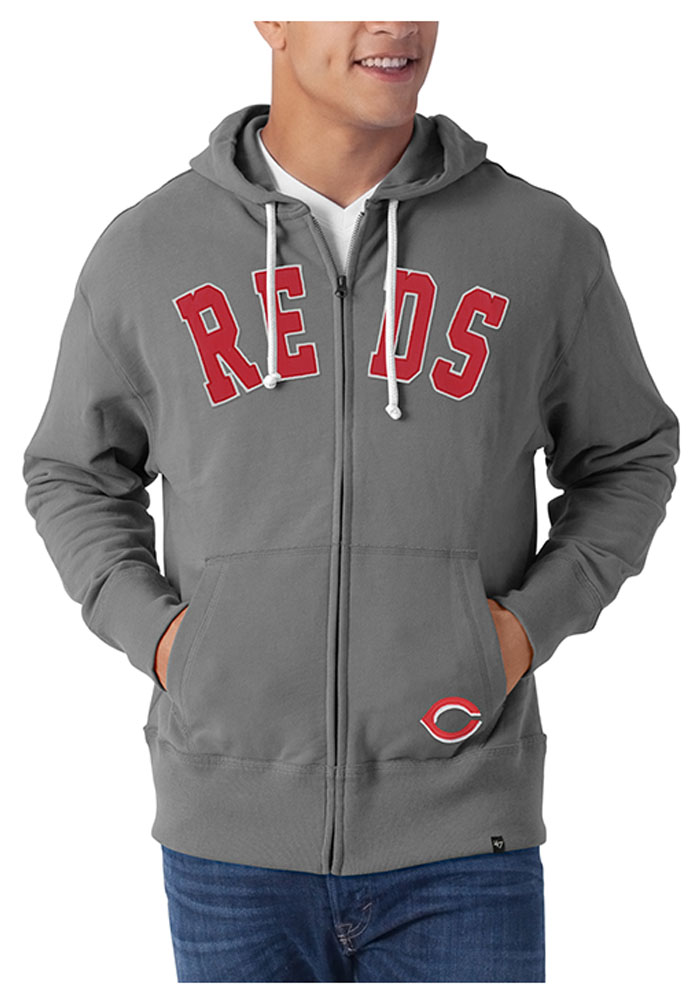 47 Cincinnati Reds Mens Grey Applique Zip Fashion 4809324