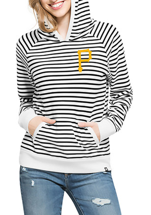 '47 Pittsburgh Pirates Womens Black Nautical Stripe Hoodie