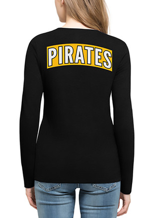 '47 Pittsburgh Pirates Womens Black Clutch Backer T-Shirt