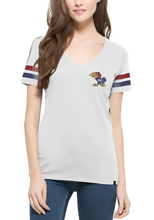 '47 Kansas Jayhawks Womens White Post Season V-Neck