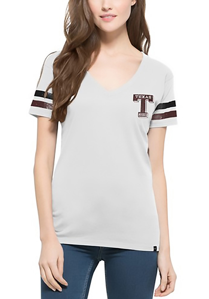 47 Texas A&M Aggies Juniors White Post Season V-Neck