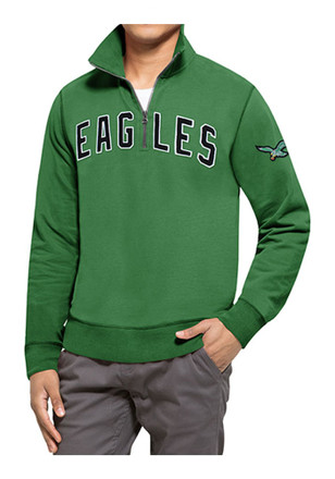 '47 Philadelphia Eagles Mens Kelly Green Striker 1/4 Zip Fashion Pullover