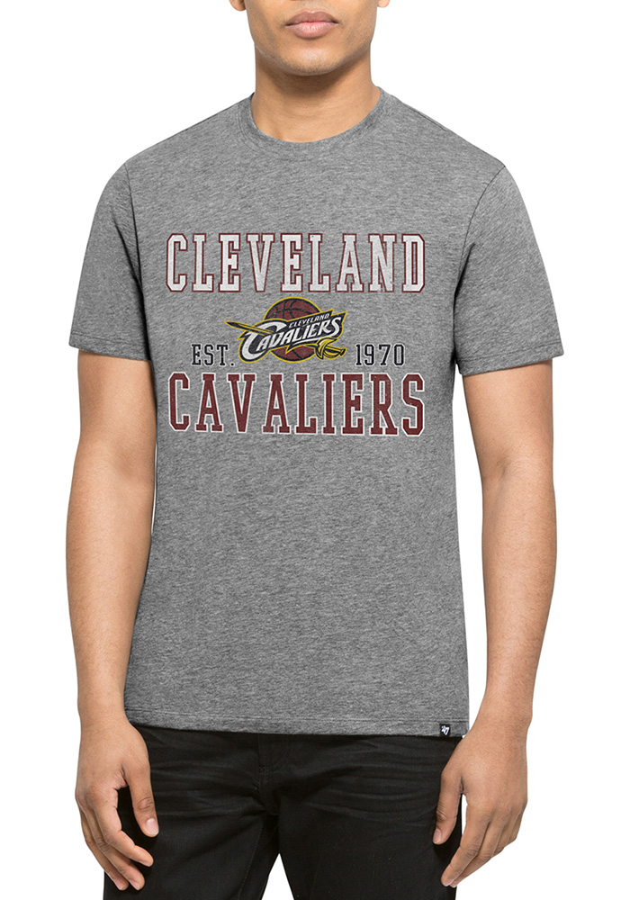 '47 Cleveland Cavaliers Mens Grey Distressed Short Sleeve T Shirt - Image 1