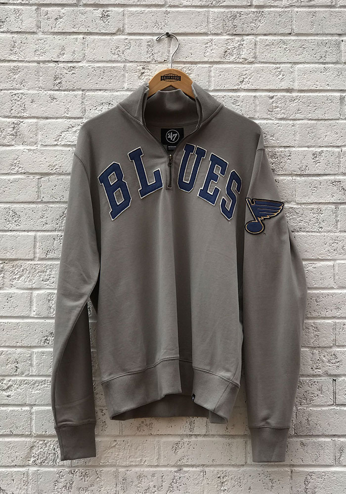 47 St Louis Blues Mens Grey Striker Long Sleeve 1/4 Zip Fashion Pullover - Image 1