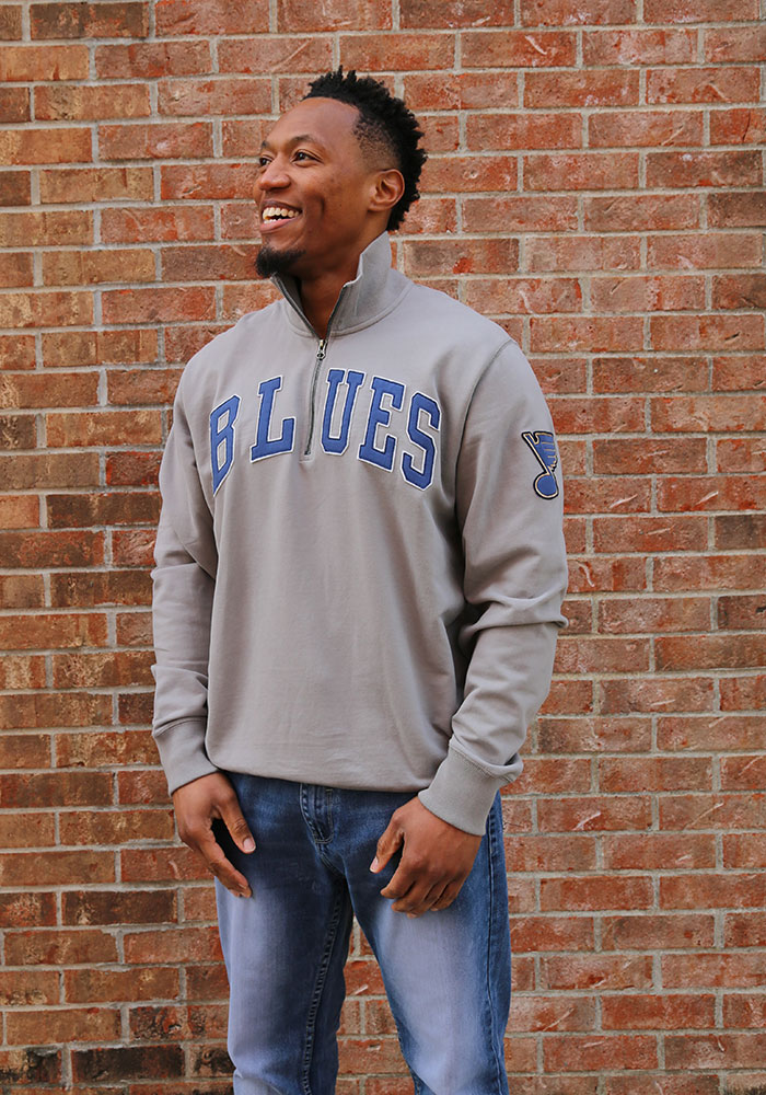 47 St Louis Blues Mens Grey Striker Long Sleeve 1/4 Zip Fashion Pullover - Image 2