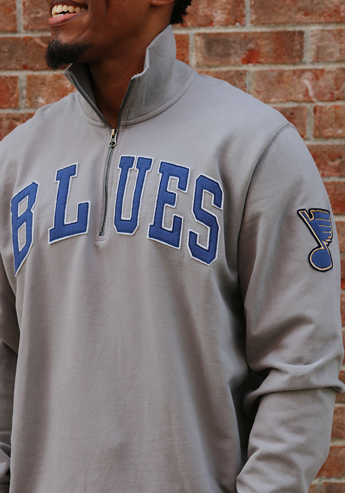 47 St Louis Blues Mens Grey Striker Long Sleeve 1/4 Zip Fashion Pullover - Image 3