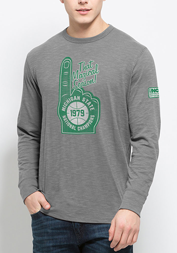 47 Michigan State Spartans Green Foam Finger Long Sleeve Fashion T Shirt - Image 1