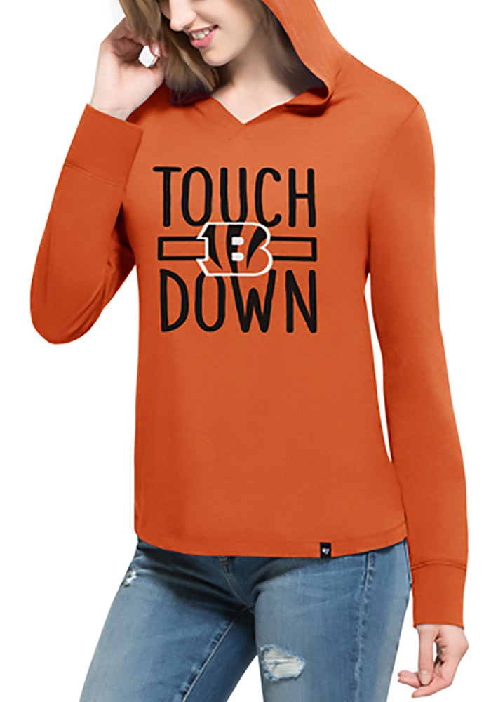 '47 Cincinnati Bengals Womens Orange Crosstown Hoodie