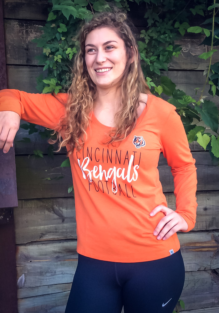 '47 Cincinnati Bengals Womens Orange Forward Athleisure Tee - Image 3