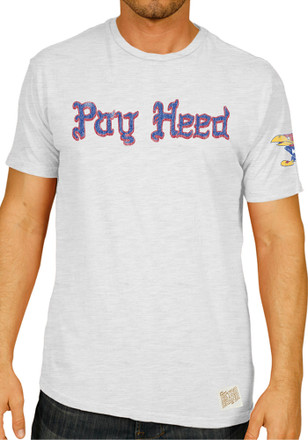 Original Retro Brand Kansas Jayhawks Mens White Pay Heed Fashion Tee