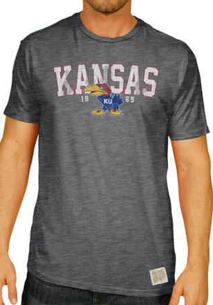 Original Retro Brand Kansas Jayhawks Mens Black Distressed Fashion Tee