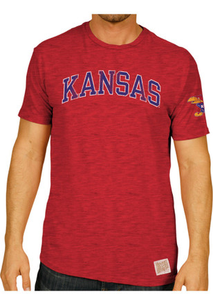 Original Retro Brand Kansas Jayhawks Mens Red Distressed Fashion Tee