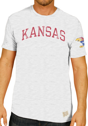 Original Retro Brand Kansas Jayhawks Mens White Distressed Fashion Tee