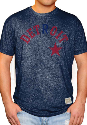 Original Retro Brand Detroit Stars Mens Navy Blue Wordmark Fashion Tee