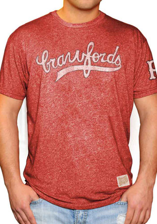 Original Retro Brand Pittsburgh Crawfords Mens Red Wordmark Fashion Tee